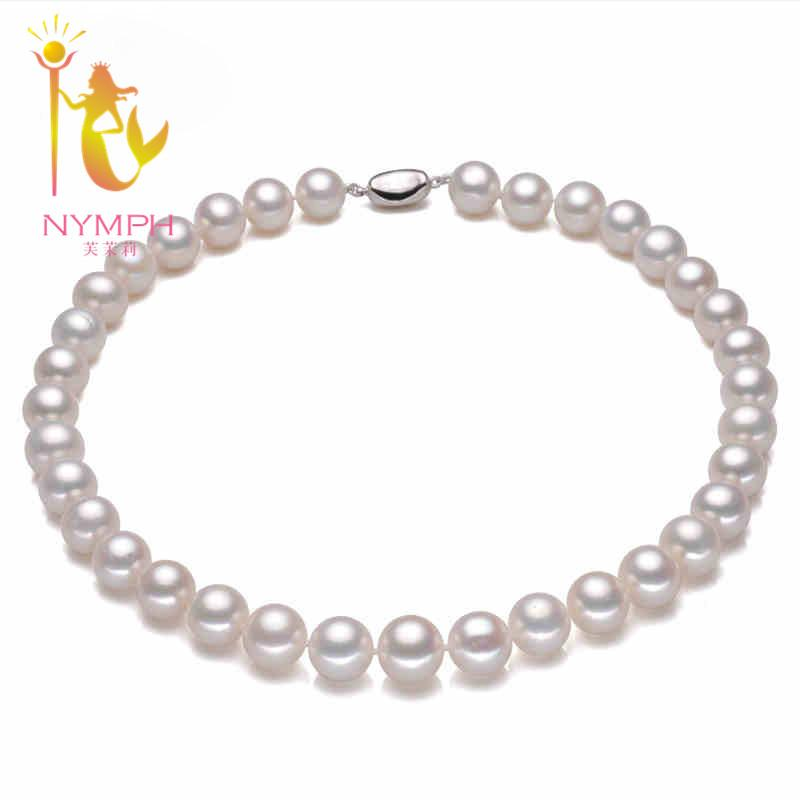 [NYMPH] Round Freshwater Pearl Necklace Pearl Jewelry Choker Necklace For Women Natural Real White Pearl  Fine Jewelry [R-13]