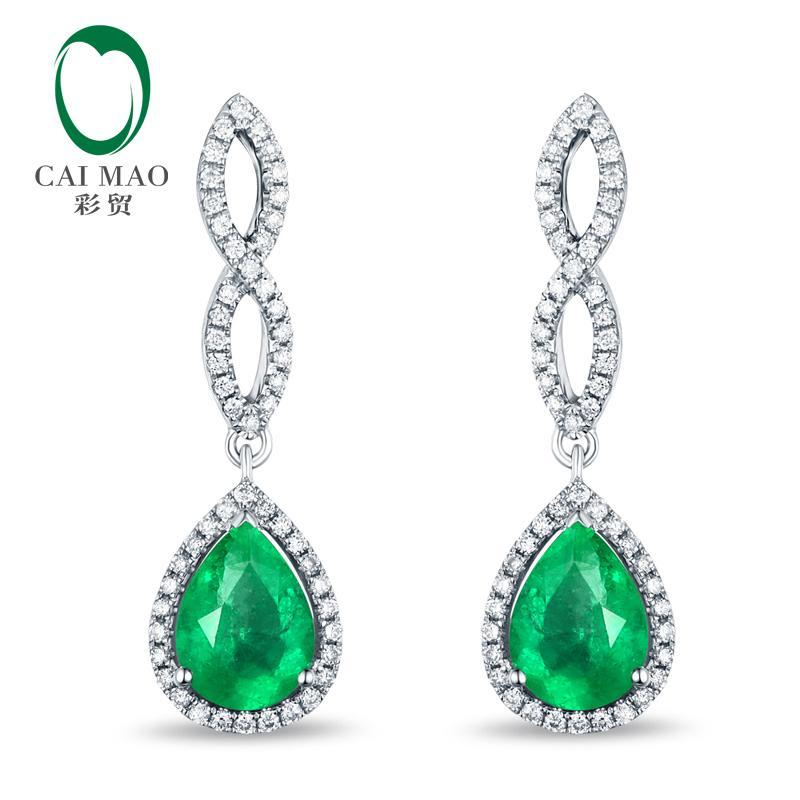 14K White Gold 1.12ct 5x7mm Pear Cut Emerald Diamond Engagment Earrings Caimao Jewelry