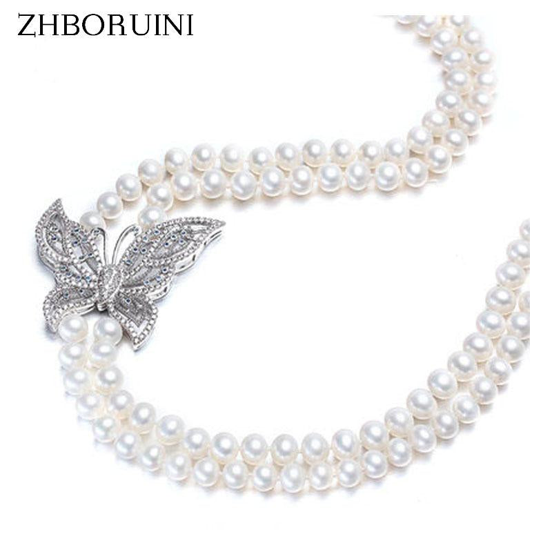 ZHBORUINI Fashion Long Pearl Necklace Natural Freshwater Pearl Butterfly 925 sterling silver Jewelry Women Statement Necklace