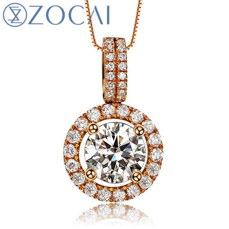 ZOCAI Choker 0.43 CT natural genuine diamond 18K rose gold pendant with 925 silver chain necklace fine jewelry D00597