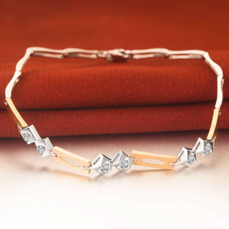 18K Two-Tone Gold Diamond Bracelet 18cm 0.20ct/6pcs Natural Diamond Jewelry Wedding Bangle Handmade Fine Jewelry