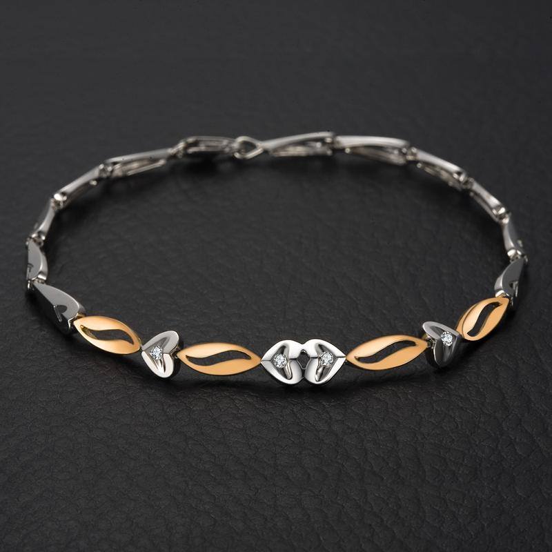 18K Two-Tone Gold Natural Diamond Women Bracelet 0.06ct/4pcs Diamond Wedding Engagement Jewelry Handmade