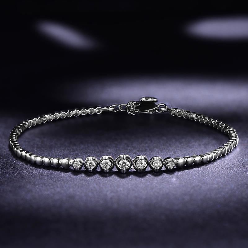 18K White Gold Diamond Bracelet 0.05+0.18ct Natural Diamond Jewelry Handmade Wedding Jewellery for Women