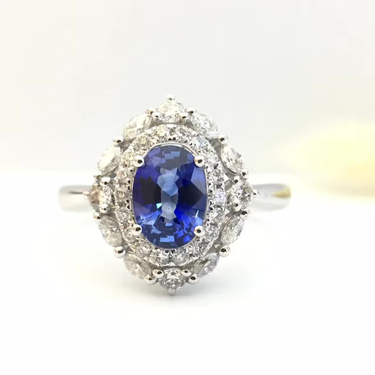 0.958ct+0.479ct 18K Gold Natural Sapphire Women Ring with Diamond Setting 2016 New Fine Jewelry Wedding Band Engagement