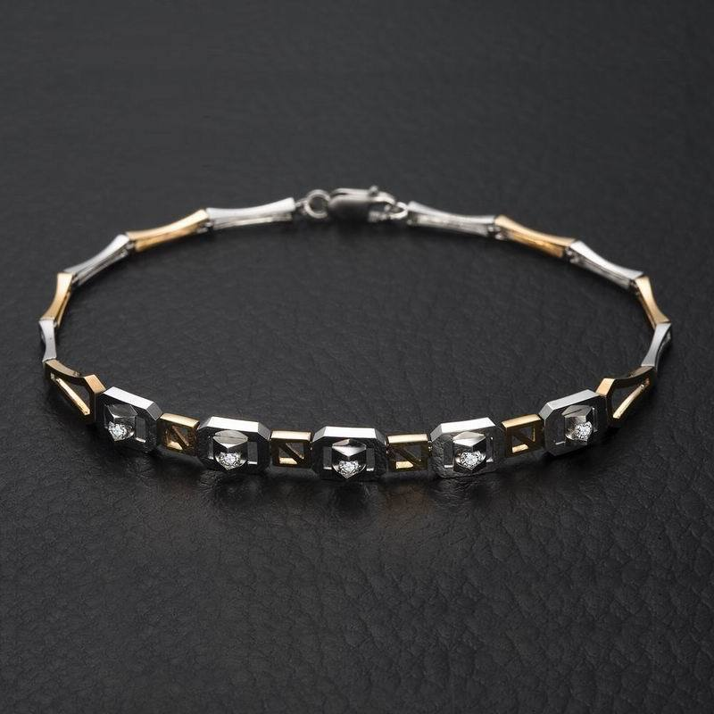 18K Gold Diamond Bracelet for Women Two-tone Gold 0.16ct/5pcs Natural Diamond Bangles Wedding Handmade Jewelry DHL Shipping