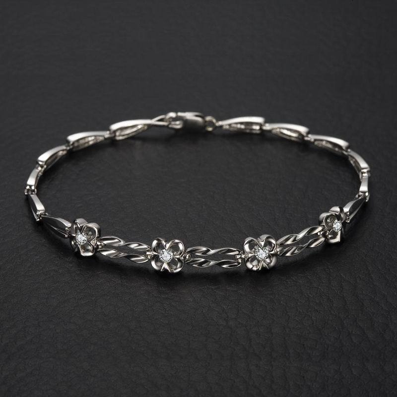 18K White Gold Diamond Bracelet 18cm Length 0.18ct/4pcs Natural Diamond Jewelry Wedding Engagement Bangle Handmade