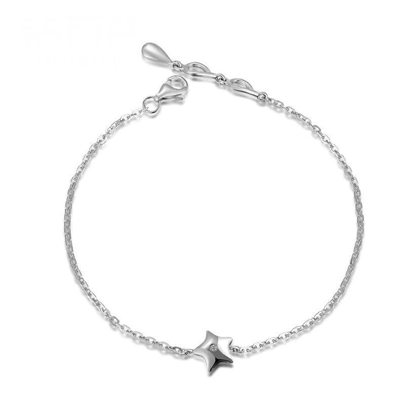 18K White Gold Diamond Star Charm Bracelet for Women Handmade 0.03ct Natural Diamond Jewelry Wedding Party
