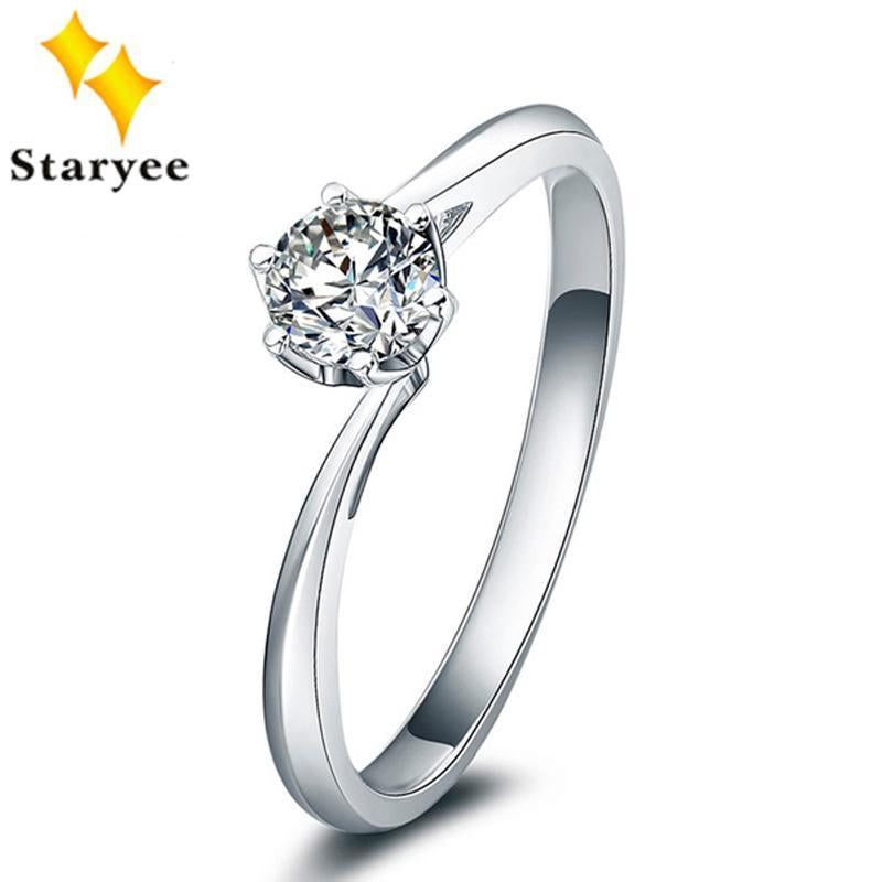 0.5Carat VS D Color Charles Colvard F One Moissanite Diamond Engagement Rings Pure 18K White Gold Jewelry For Women Au750 stamp