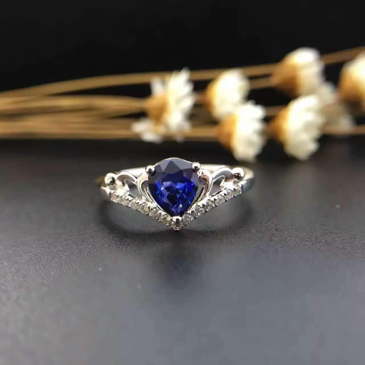 0.579ct+0.084ct 18K Gold Natural Sapphire Women Ring with Diamond Setting 2016 New Fine Jewelry Wedding Band Engagement