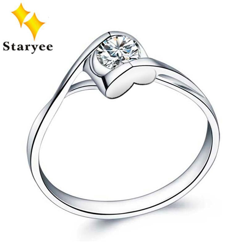 0.5CT Charles Colvard VVS D Moissanite Engagement Rings Certified 14K White Gold Heart Style Fine Jewelry For Women