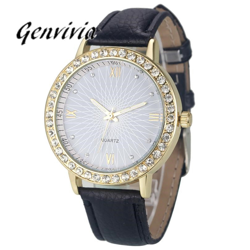 2017 montre bracelet femme Fashion women clock With Diamond Analog Leather Quartz Wrist Watch brand watch women #LD
