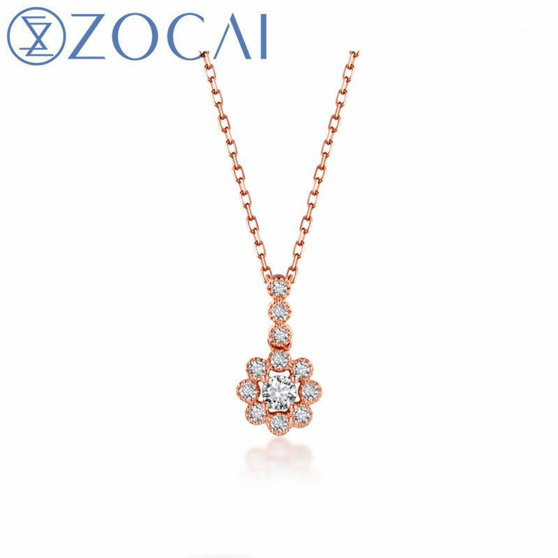 ZOCAI Fine Jewelry Necklace Real Total 0.18 CT Diamond 18K Rose Gold (Au750) Wedding or Gift Necklace D80108T