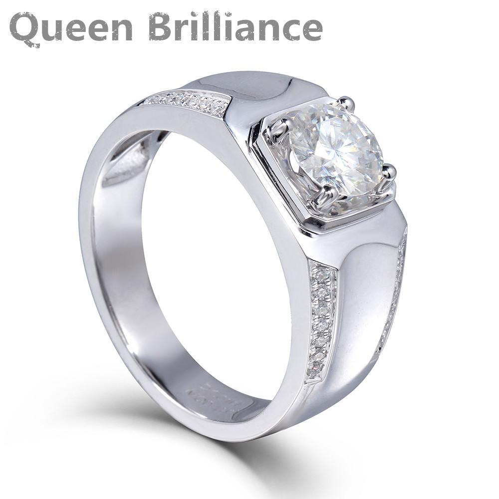1 Carat Ct F Color Test Positive Moissanite Diamond Ring 14K 585 White Gold wedding engagement Ring Luxury Jewelry Gift For Men