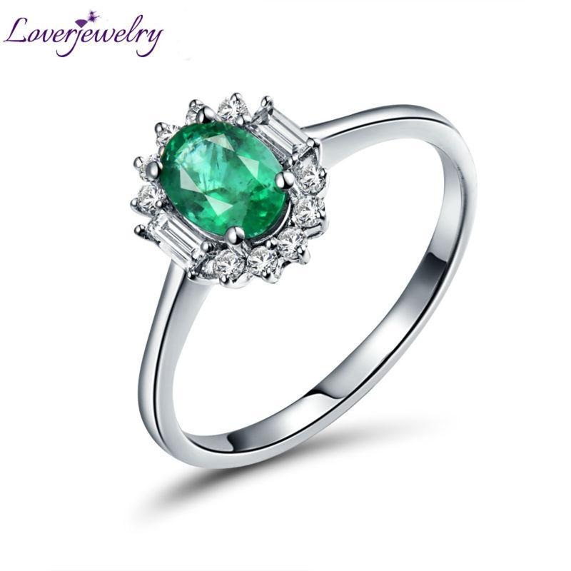0.88Ct Emerald Classic Ring Diamond Jewelry Vintage Oval 5x7mm Rings Solid 14kt White Gold WU306D