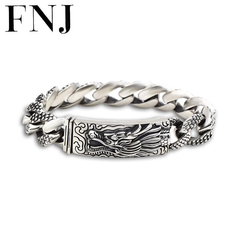16MM Dragon Head Bracelet 925 Sterling Silver 21-22cm Hand Link Chain Bangle S925 Solid Thai Silver Dragon Bracelets Men Jewelry