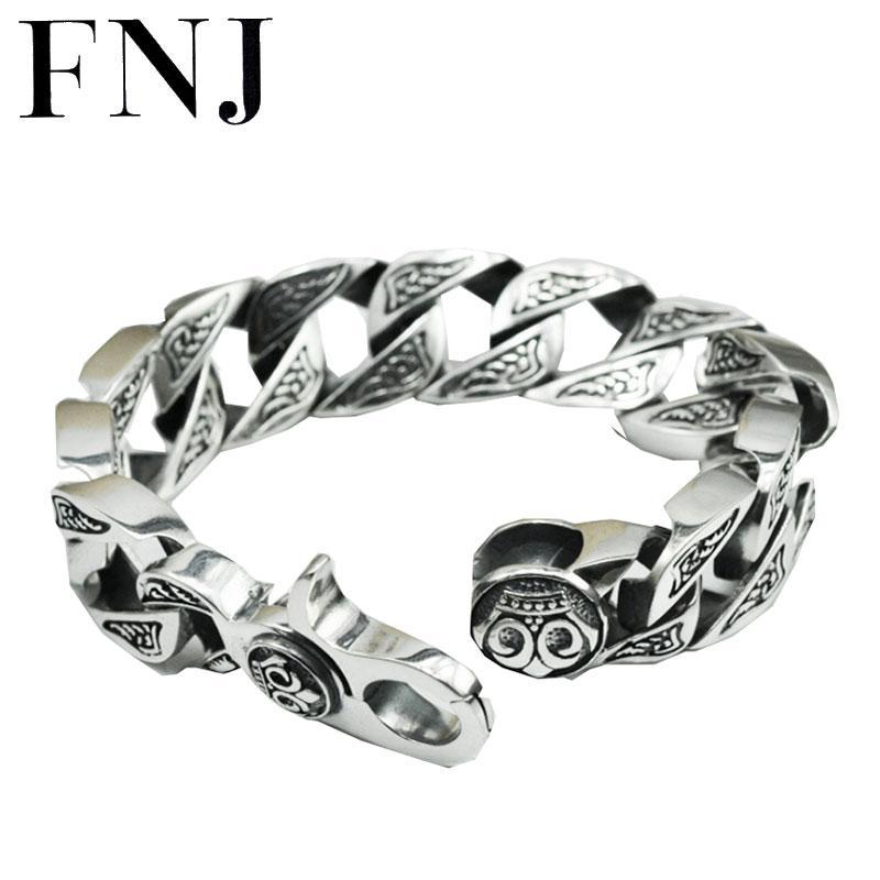 17MM box big chain male s925 solid silver bracelet pure 925 sterling silver bracelets men jewelry HKB17