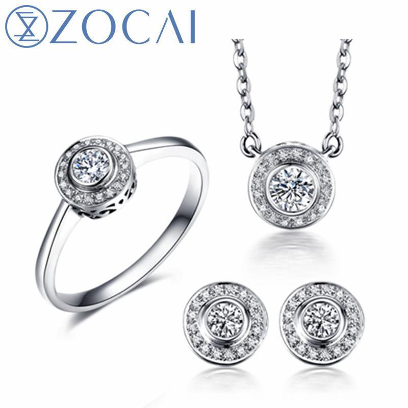 ZOCAI ring earrings necklace suit real certified total 0.14 CT/ 0.12 CT 18K rose/white gold (AU750) wedding jewelry suit