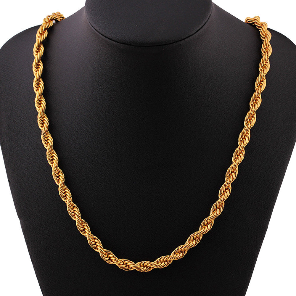 Unisex Fashion Luxury 18k Gold Necklace Jewelry Chain