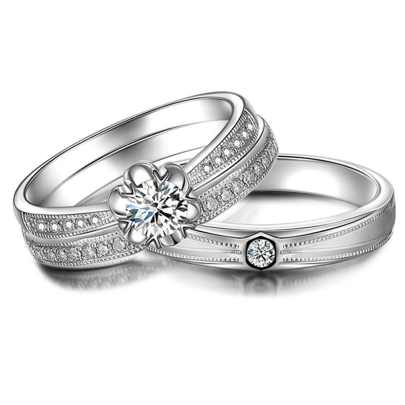 0.20ct Diamond Wedding Couple Set Rings 18K White Gold Handmade Luxury Engagement Jewelry Wedding Band