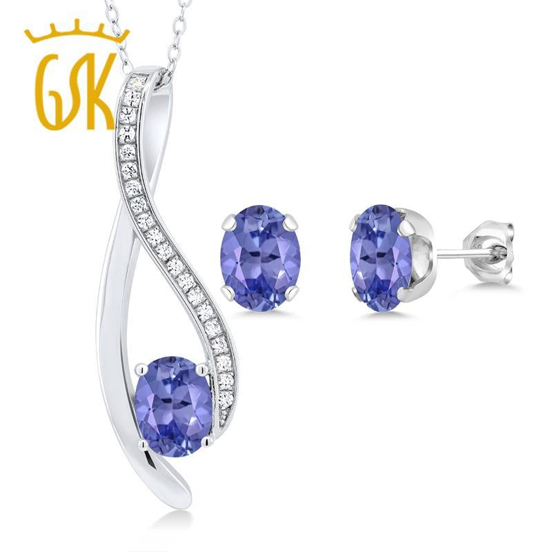 2.32 Ct Oval Natural Blue Tanzanite Jewelry Set For Women Solid 925 Sterling Silver Pendant and Earrings Set GemStoneKing