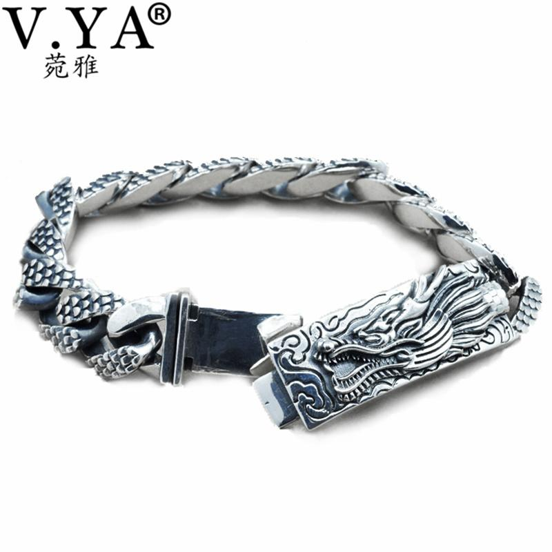 100% Real Pure 925 Silver men jewelry Wholesale Genuine Men bracelet dragon head Bracelet free shipping men fine jewelry HYB14