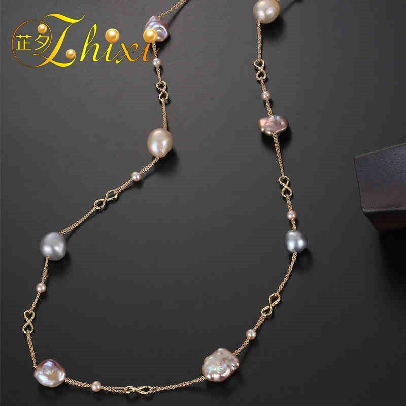 ZHIXI Fine 9K Yellow Gold Jewelry Long Pearl Necklace Natural Baroque Pearl Sweater Chain For Women  Anniversary Gift  EB44