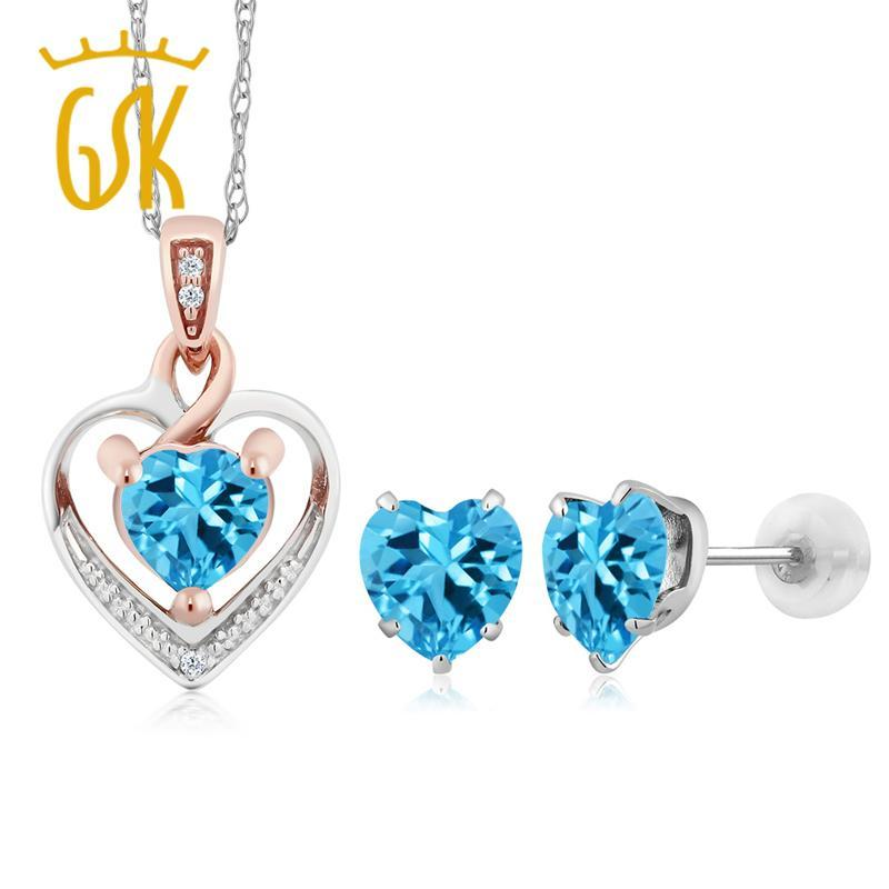 10K White Gold Heart Shape Blue Topaz and Diamond Pendant Earrings Set