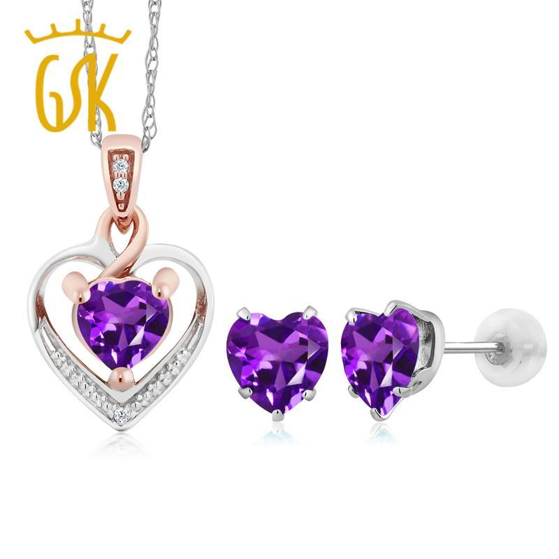 10K White Gold Heart Shape Purple Amethyst and Diamond Pendant Earrings Set