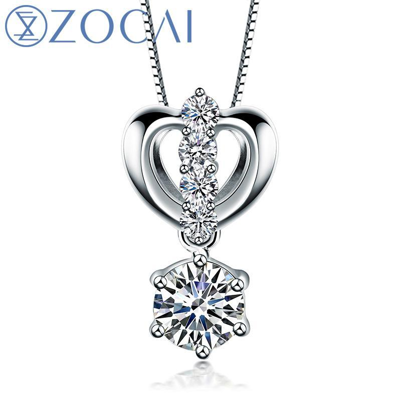 ZOCAI brand 0.65 CT CERTIFIED F-G COLOR 18K white gold DIAMOND Pendant  925 STRLING SILVER CHAIN Necklace Fine Jewelry D04751