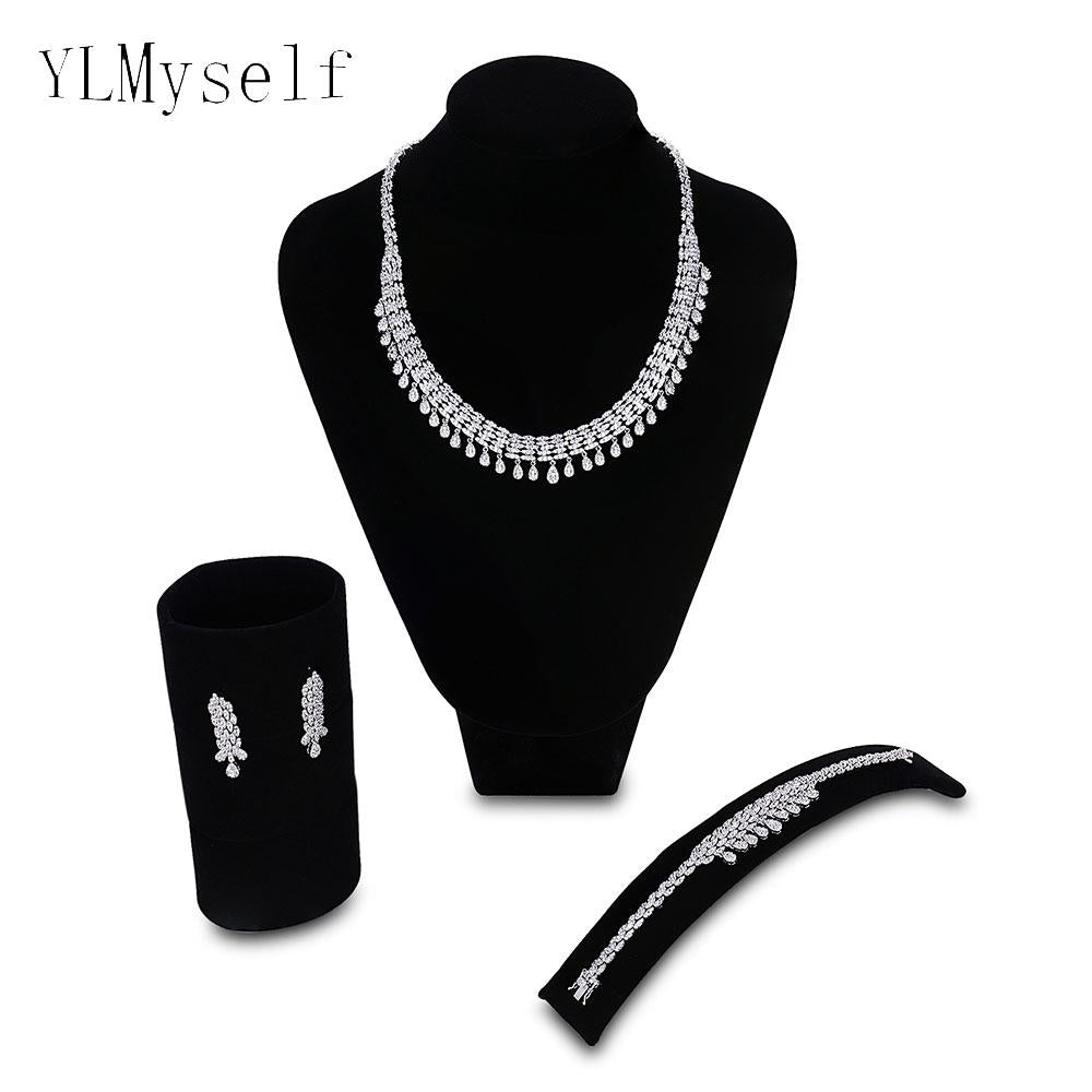 2018 New Big Luxury jewelry sets involved Necklace+Bracelet+earring+free ring Wedding party water drop bridal jewellery set