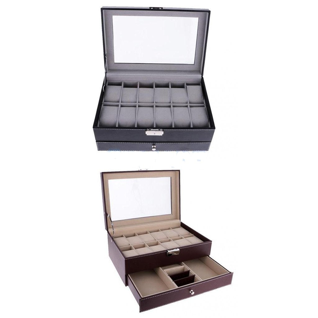 12 Slots Watch Bracelet Box Leather Display Top Glass Watch Jewelry Storage Case