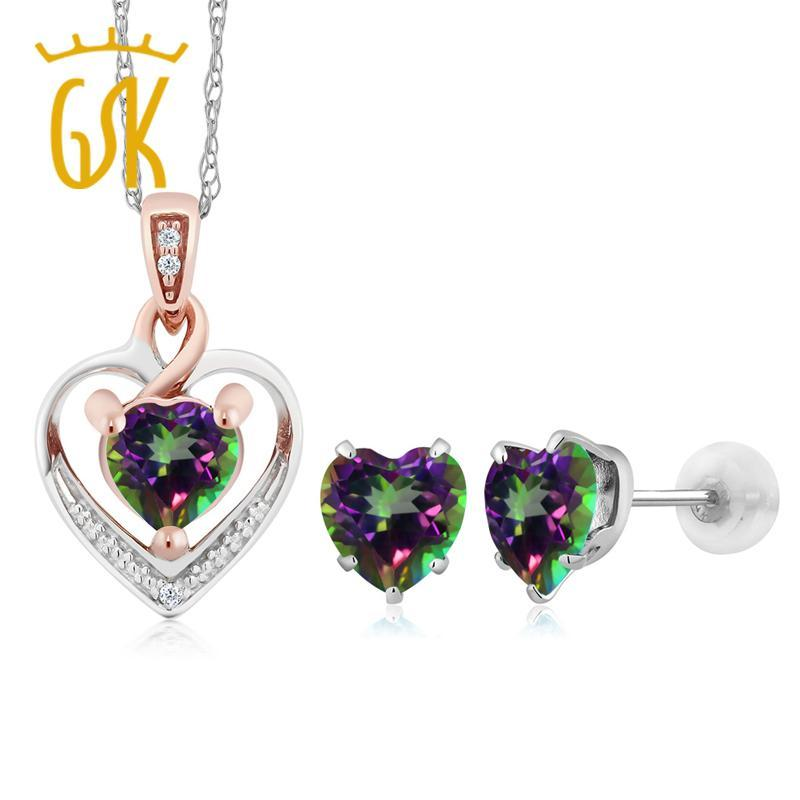 10K White Gold Heart Shape Green Mystic Topaz and Diamond Pendant Earrings Set