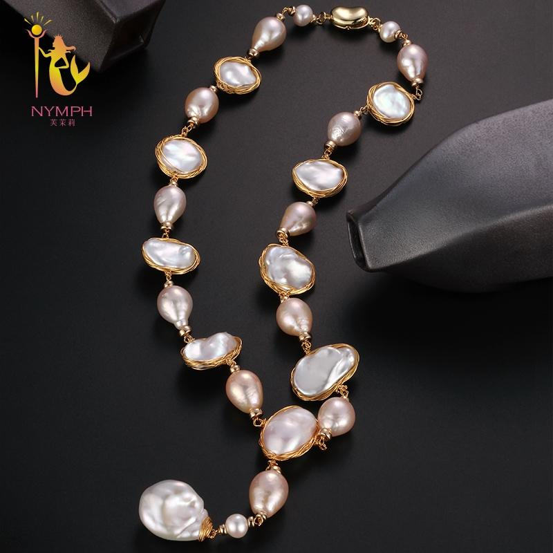 [NYMPH] Baroque Pearl Necklace Fine Jewelry Real Pearl Big Pearl Neckalce Women Party Wedding Trendy Anniversary Gift X325