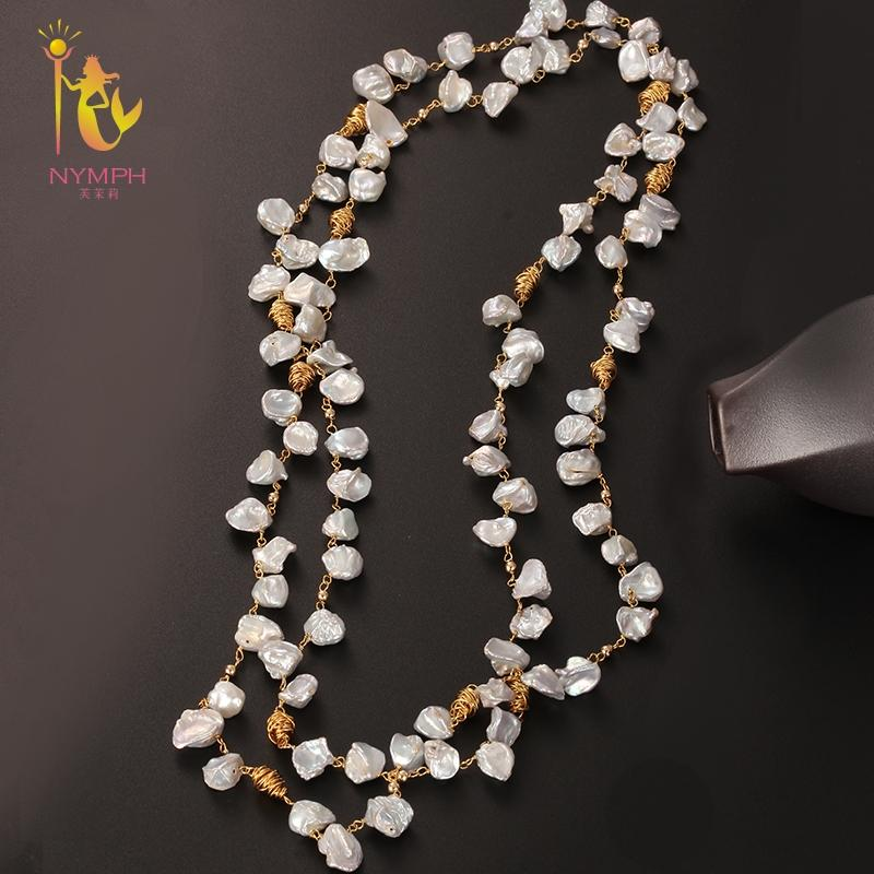 [NYMPH] Fine Jewelry Long Pearl Necklace Natural Baroque Pearl Sweater Chain For Women Anniversary Gift X336