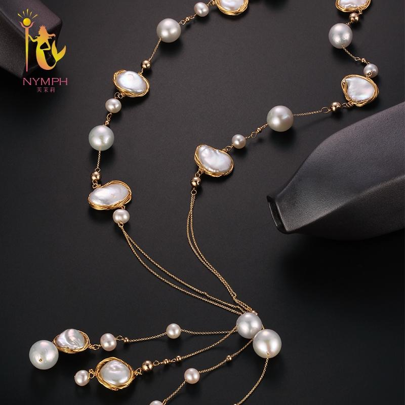 [NYMPH] Long Pearl Necklace Women Fine Jewelry Baroque Pearl Necklace Party Jewelry 2018 Wedding Trendy Anniversary Gift X324
