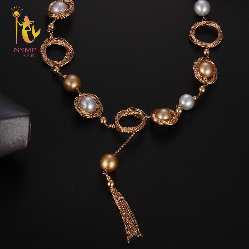 [NYMPH] Pearl Necklace Women Fine Jewelry Natural Sea Pearl Necklace Wedding Party Gift 2018 New Hyperbole Circle X323