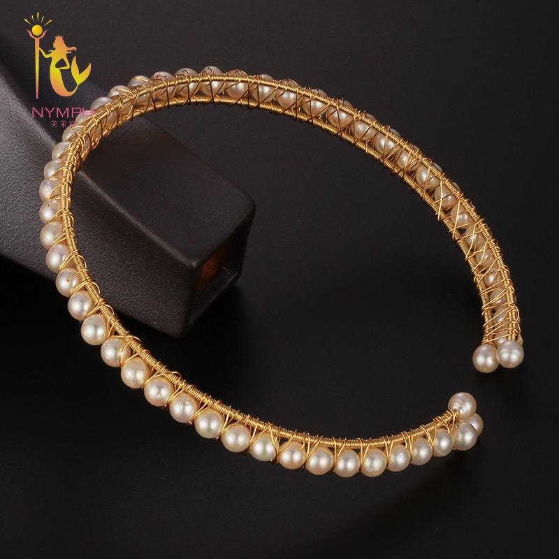 [NYMPH] Pearl Choker Necklace For Women Fine Jewelry Natural Freshwater Pearl Torques 2018 New Fashion Wedding Gift X330