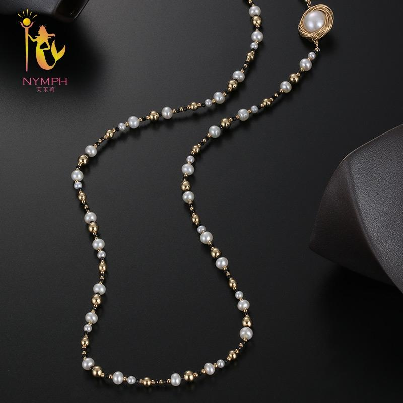 [NYMPH] Fine Jewelry Long Pearl Necklace  Natural Pearl Sweater Chain Near Round Anniversary Gift Black Onyx X327