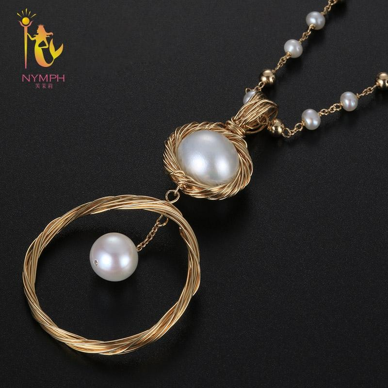 [NYMPH] Long Pearl Necklace Women Fine Jewelry Natural Freshwater Pearl Necklace Double Layer Party Gift New Trendy Circle X329
