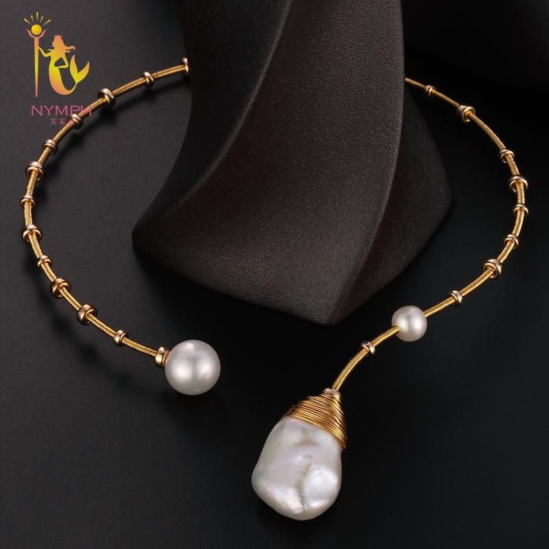 [NYMPH] Baroque Pearl Torques Necklace Fine Jewelry Real Pearl Big Pearl Necklace Women Wedding Trendy Party Jewelry X319