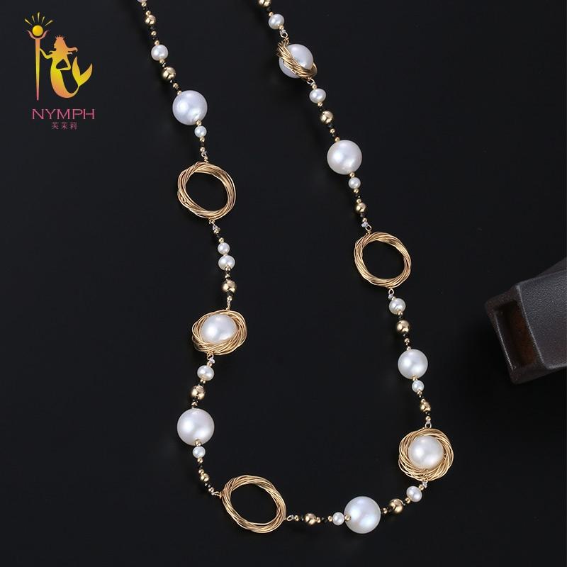 [NYMPH] Long Pearl Necklace  Fine Jewelry Natural Pearl Sweater Chain Near Round Luxurious Anniversary Gift X326