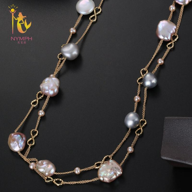 [NYMPH] Fine Jewelry Long Pearl Necklace Natural Baroque Pearl Sweater Chain For Women Anniversary Gift X328