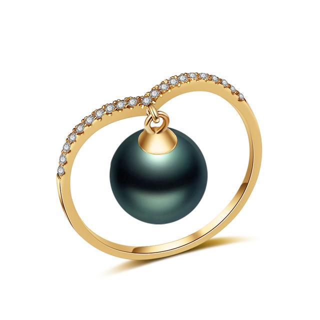18k gold ring,natural akoya pearl rings for women yellow gold jewelry,custom made finger ring black pearl fine gift