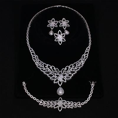 2018 new bridal wedding jewelry sets Necklace+Bracelet+earrings+gift ring Beautiful big luxury jewellery 4pcs set