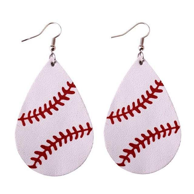 120 Pairs Personalized Baseball Earrings Women Custom Sports Leather Earrings Teardrop Dangle Earrings Fashion Jewelry Wholesale