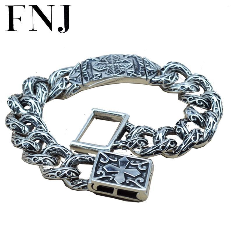 15MM Statement Bracelet 925 Sterling Silver 20.8-21.8cm Big Hand Chain 100% S925 Solid Thai Silver Bracelets for Men Jewelry