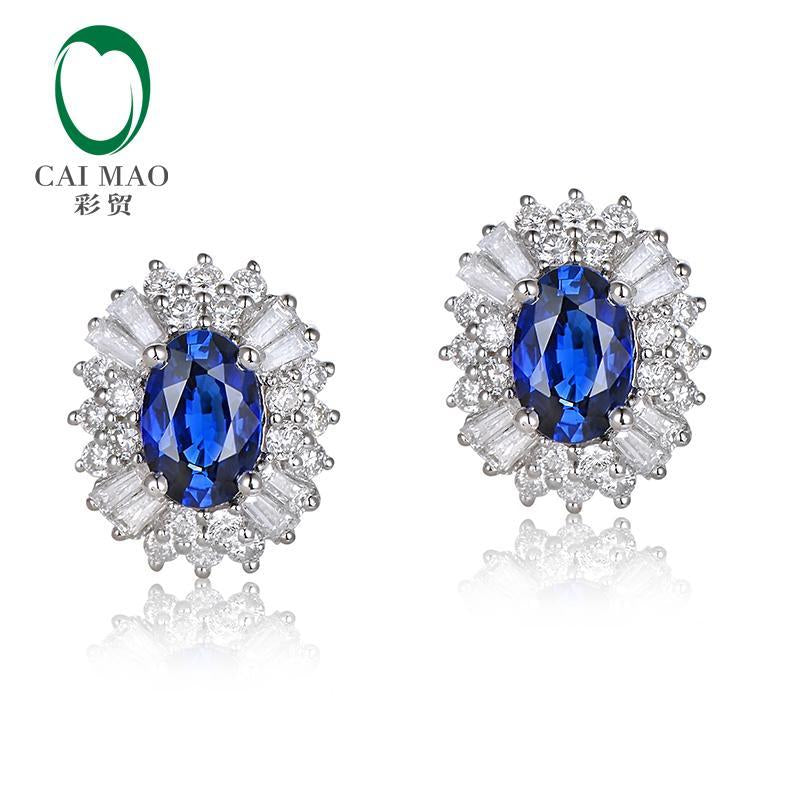 1.12ct Natural Blue Sapphire 0.65ct Diamond 14kt White Gold Earrings Studs Jewelry
