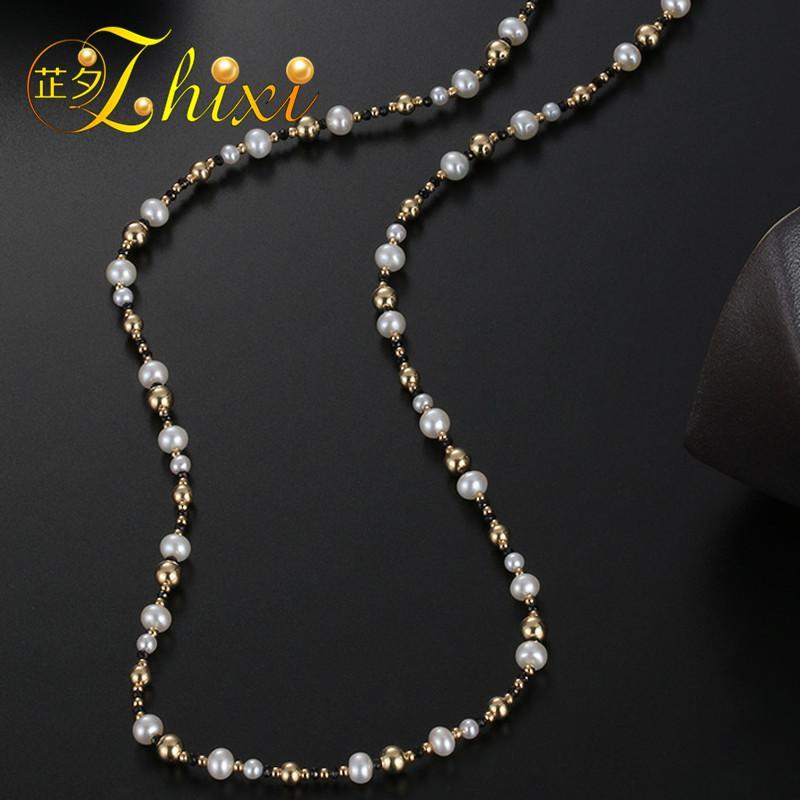 ZHIXI Fine Jewelry Long Pearl Necklace 9K Yellow Gold Natural Pearl Sweater Chain Near Round  Anniversary Gift Black Onyx EB35