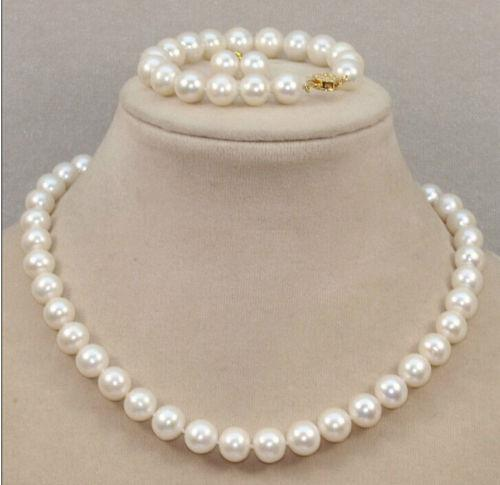 .655 CLASSIC 10-11mm south sea round white pearl necklace Bracelet Earring 18 inch14k jewelry set