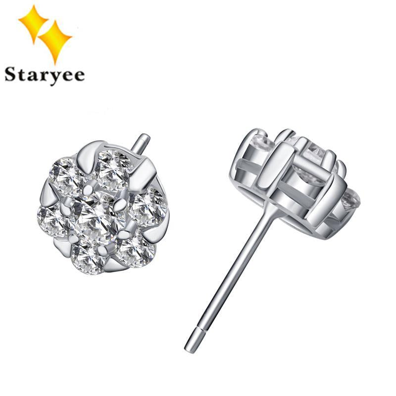 2.5 Carat Effect New Fashion Real 18K Solid White Gold Stud Earrings Jewelry For Women Engagement Birthday Party Gift